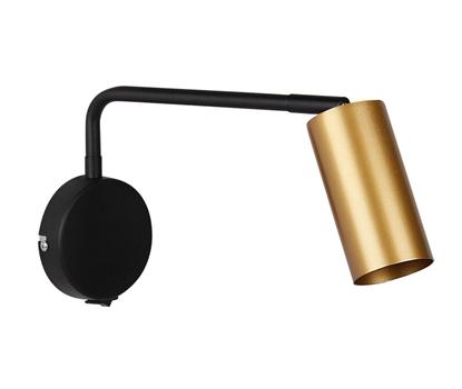 Kinkiet czarno-złoty ruchomy z włącznikiem Tina 21-76816