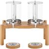 Dozownik dyspenser do napojów soków podwójny chłodzony na drewnianej podstawie 2x 7 l