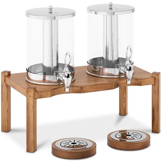 Dozownik dyspenser do napojów soków podwójny z systemem chłodzenia na drewnianej podstawie 2x 7 l