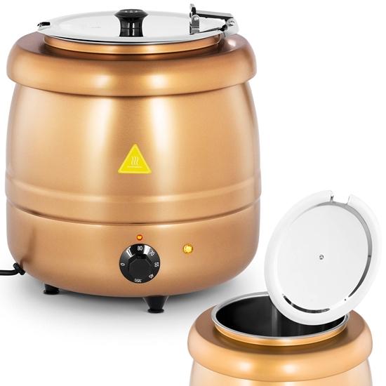 Kociołek termos na zupę elektryczny ze stali nierdzewnej cool-touch 400 W 10 l 35-80C złoty