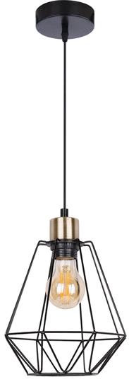 Lampa wisząca czarna + patyna druciany klosz Primo 31-00262