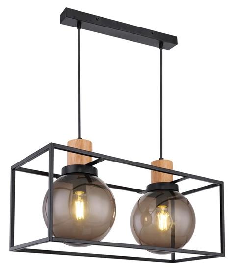 Lampa wisząca czarna metalowa dymiona 2xE27 Retro 2 32-00750