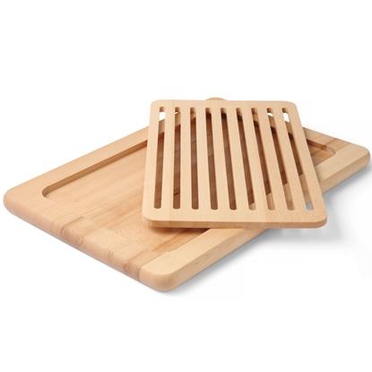 Deska do krojenia chleba z wyjmowaną kratką drewniana 480 x 325 mm - Hendi 505151