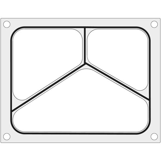 Matryca forma do zgrzewarki Duni DF10 na tackę trójdzielną 227x178 mm - Hendi 805824