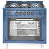Kuchnia gazowa 5 palników z piekarnikiem konwekcyjnym Kitchen Line 14.3 kW 230 V niebieska - Hendi 229194