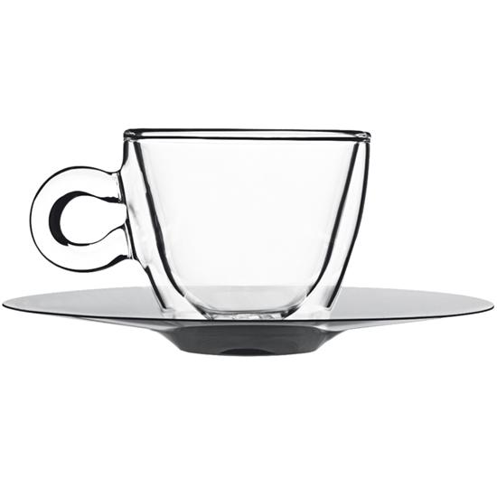 Filiżanka do espresso z podwójnymi ściankami ze stalowym spodkiem 65ml - zestaw 2 szt. - Hendi 777664