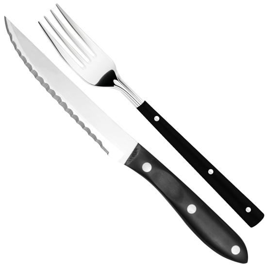 Nóż do steków ząbkowany nierdzewny dł. 120 mm + widelec ZESTAW 2 el. - Hendi 841174