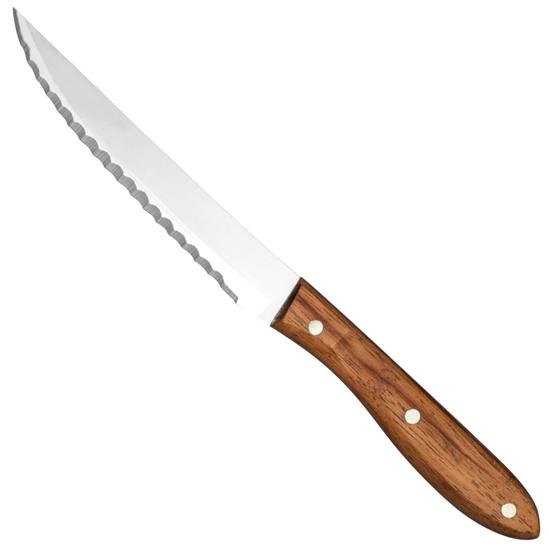 Nóż do steków ząbkowany nierdzewny uchwyt z drewna różanego dł. 120 mm - Hendi 841150
