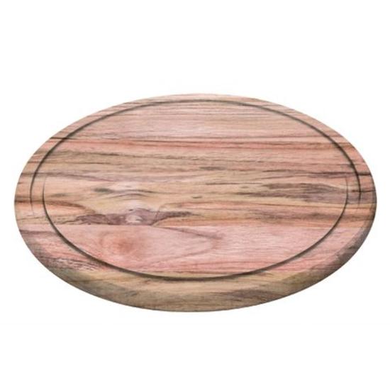 Deska do krojenia steków z wycięciem z drewna tekowego okrągła Churrasco śr. 260x15 mm