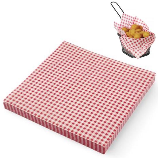 Papier pergaminowy do przekąsek frytek nadruk KRATKA 500 szt. 306x305 mm - Hendi 678176