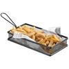 Koszyk do serwowania smażonych przekąsek frytek z uchwytem czarny 255x153x45 mm - Hendi 425657