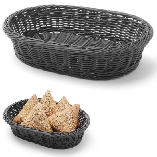Koszyk na pieczywo owalny polipropylenowy czarny 320x230x70 mm - Hendi 426654