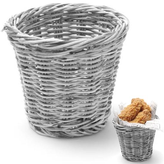 Koszyk do serwowania smażonych przekąsek szary melanżowy śr. 130x110 mm - Hendi 426043