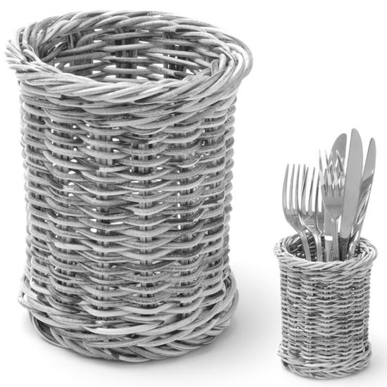 Koszyk na sztućce widelce noże łyżki okrągły szary melanżowy śr. 100x120 mm - Hendi 426197