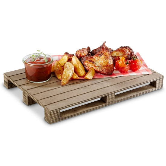 Deska taca do serwowania podawania dań burgerów steków MINI PALETA 400x150 mm - Hendi 566251