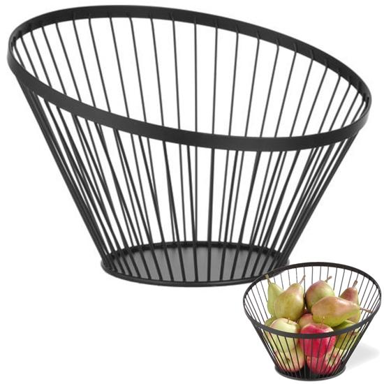 Koszyk miska druciana na owoce czarna z matową powłoką śr. 300 mm - Hendi 427071