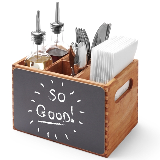 Skrzynka pojemnik na menu sztućce przyprawy z tablicami do pisania drewniana - Hendi 664148