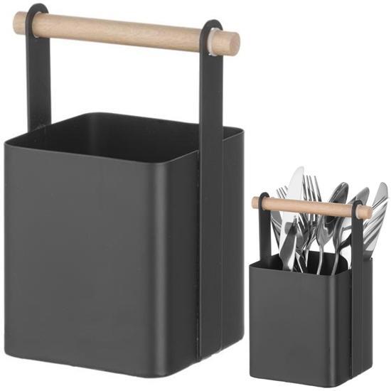 Organizer koszyk stołowy na sztućce z drewnianą rączką 14x10.5x19 cm - Hendi 427064