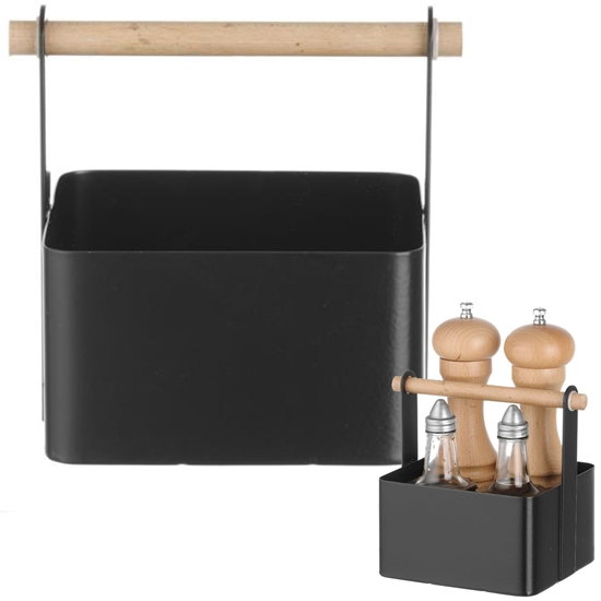 Organizer koszyk stołowy na przyprawy z drewnianą rączką 17x13x16 cm - Hendi 427057