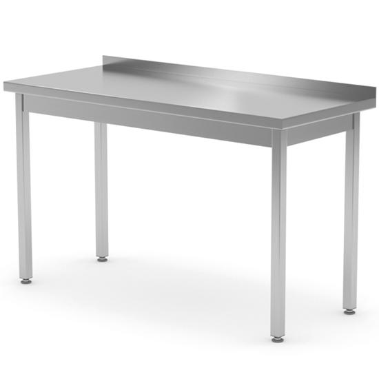 Stół blat roboczy stalowy przyścienny z rantem 80x70x85 cm - Hendi 812662
