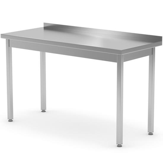 Stół blat roboczy stalowy przyścienny z rantem 140x70x85 cm - Hendi 812693