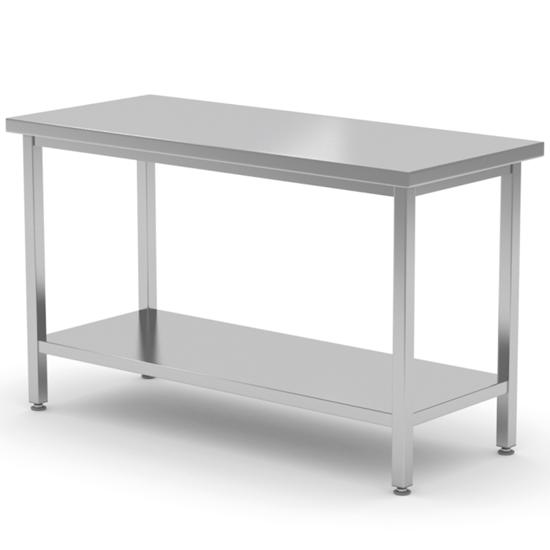 Stół blat roboczy stalowy centralny z półką 160x70x85 cm - Hendi 810736