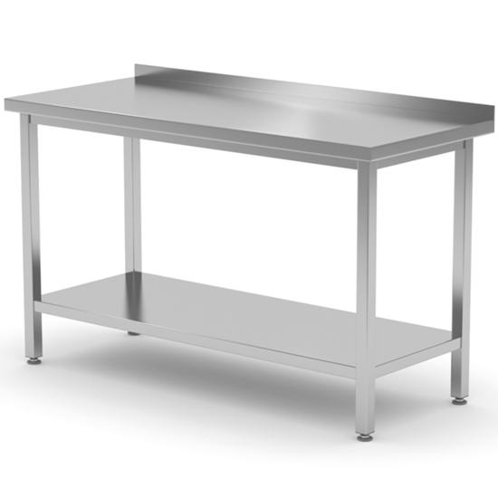 Stół gastronomiczny przyścienny z rantem i półką 180x70x85 cm - Hendi 812761