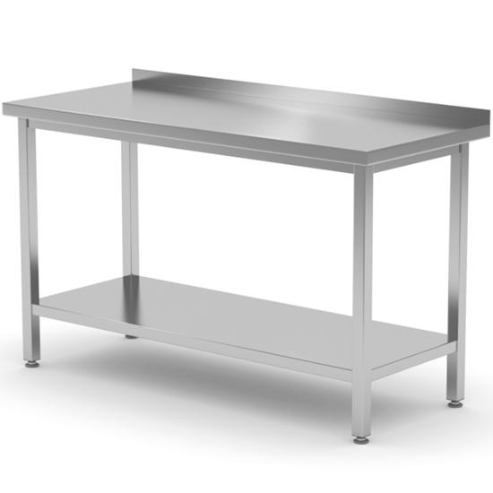 Stół blat roboczy stalowy spawany przyścienny z rantem i półką 60x60x85 cm - Hendi 814659