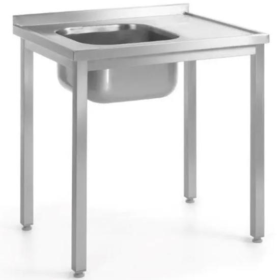 Stół przyścienny stalowy skręcany ze zlewem LEWY 100x60x85 cm - Hendi 812648