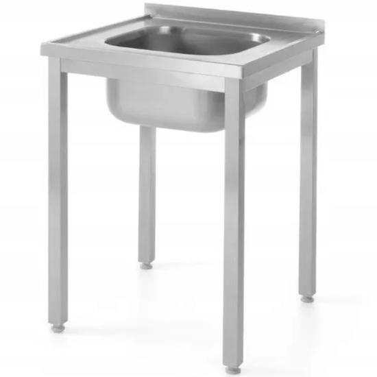 Stół przyścienny stalowy skręcany ze zlewem  60x70x85 cm - Hendi 812877