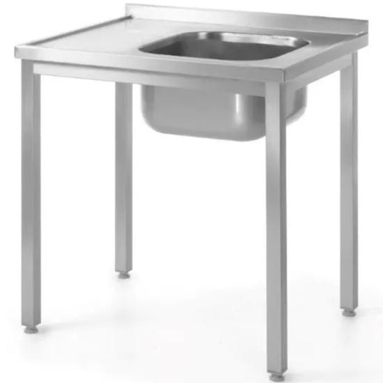 Stół przyścienny stalowy skręcany ze zlewem PRAWY 100x70x85 cm - Hendi 812884