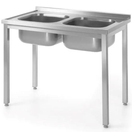 Stół przyścienny stalowy skręcany z dwoma zlewami 100x70x85 cm - Hendi 812952