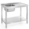 Stół blat roboczy gastronomiczny przyścienny ze zlewem i półką skręcany 100x60x85 cm LEWY - Hendi 812631