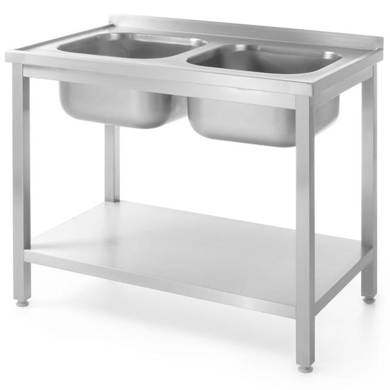 Stół gastronomiczny przyścienny z dwoma zlewami i półką skręcany 100x70x85 cm - Hendi 812969