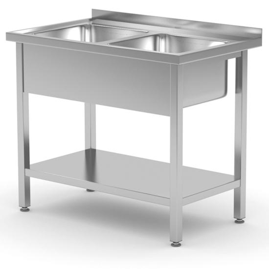 Stół blat roboczy do kuchni przyścienny z dwoma zlewami stalowy spawany 100x60x85 cm - Hendi 815007