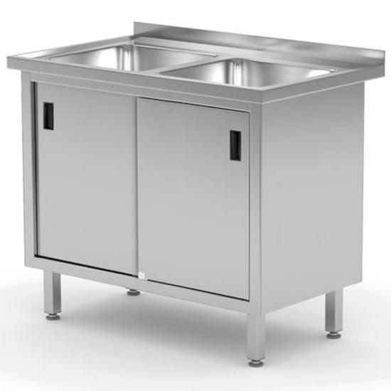 Zlew roboczy gastronomiczny z szafką z drzwiami suwanymi PODWÓJNY 100x60x85 cm - Hendi 813690