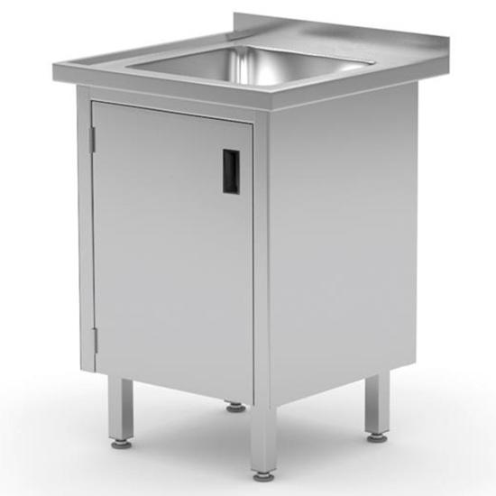 Zlew roboczy gastronomiczny z szafką z drzwiami na zawiasach spawany 60x60x85 cm - Hendi 813522
