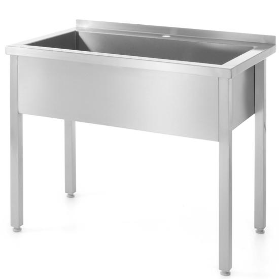 Stół z basenem jednokomorowym gastronomiczny spawany nierdzewny 100x60x85 cm - Hendi 813423