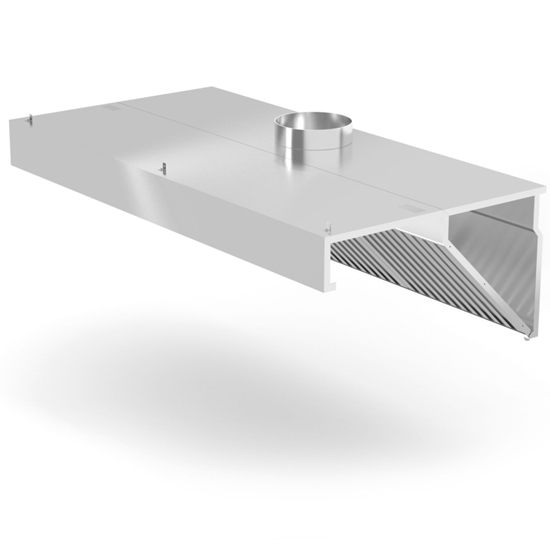 Okap przyścienny skośny z filtrami labiryntowymi i oświetleniem LED 120x70x45 cm - Hendi 229316