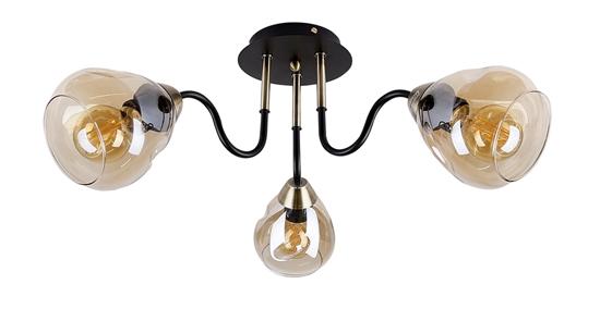 Lampa sufitowa czarno/złota dymiona 3xE27 Unica 33-00880
