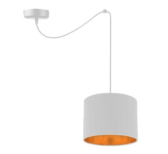 Lampa wisząca biała tkany abażur Atlanta 31-00637