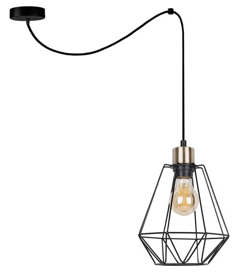 Lampa wisząca czarna/patyna druciany klosz Primo P 31-00279