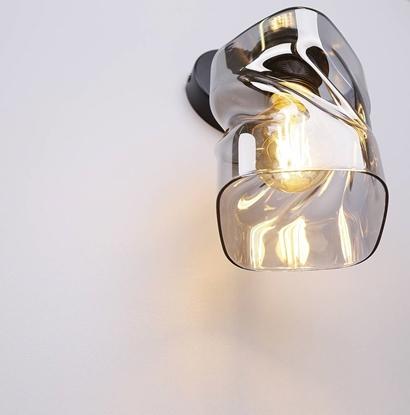 Kinkiet czarny klosz szklany dymiony Felis 21-00125